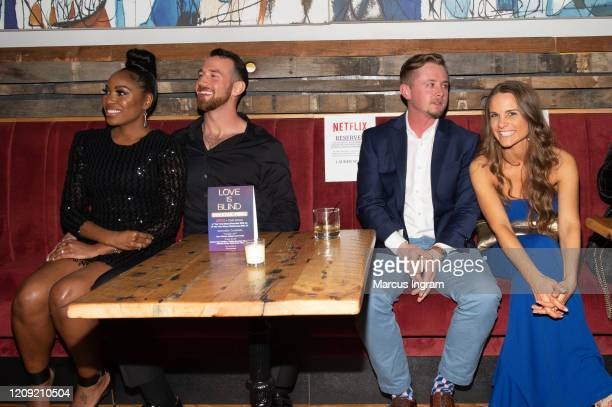 Lauren Speed Cameron Hamilton Kelly Chase attend the Netflix's Love is Blind VIP viewing party at City Winery on February 27 2020 in Atlanta Georgia