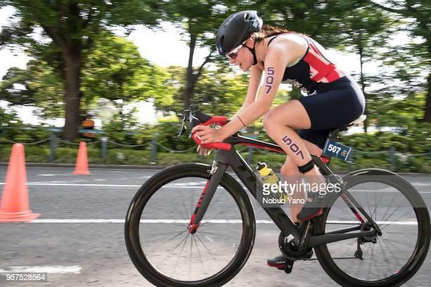 Lauren Steadman of Great Britaini competes in the bike leg of Para Triathlon Category PTS5-W event of the ITU Triathlon Yokohama, Japan.