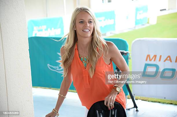 Lauren Tannehill hosts students from American Senior High School at Dolphins training camp on August 15 2013 in Davie Florida