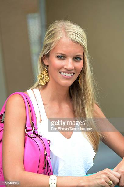 Lauren Tannehill wife of Dolphins quarterback Ryan Tannehill looks on during Miami Dolphins training camp on July 27 2013 in Davie Florida