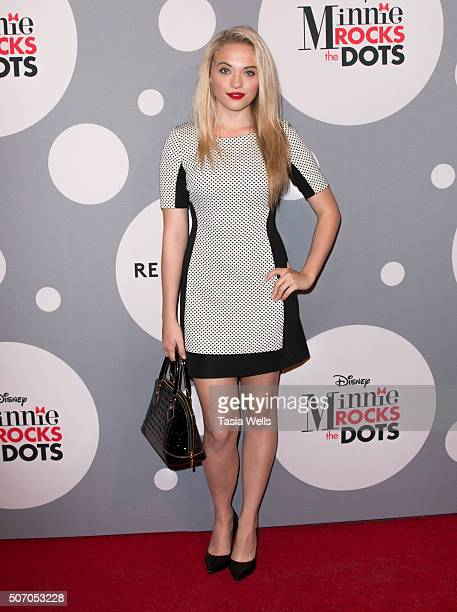 Lauren Taylor attends Minnie Rocks the Dots art and fashion exhibit on National Polka Dot Day in downtown Los Angeles Celebrating the signature style...