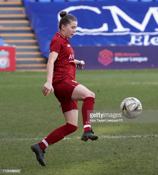 Lauren Thomas of Liverpool Women in action during the SSE Womens FA Cup game at Prenton Park on February 17 2019 in Birkenhead England