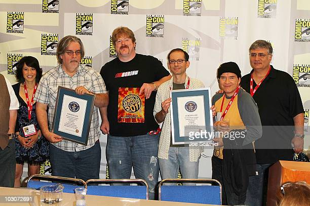 Lauren Tom Matt Groening John DiMaggio David X Cohen Billy West and Maurice LaMarche attend the Futurama Press Conference on Day 3 of 2010 ComicCon...