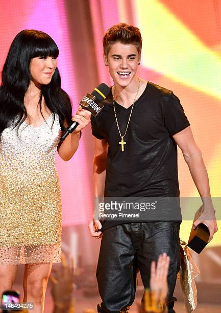 Lauren Toyota and Justin Bieber during the 2012 MuchMusic Video Awards at MuchMusic HQ on June 17, 2012 in Toronto, Canada.