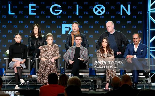 Lauren Tsai Rachel Keller Dan Stevens Aubrey Plaza Navid Negahban Lauren ShulerDonner Noah Hawley and Jeph Loeb of the television show Legion speak...