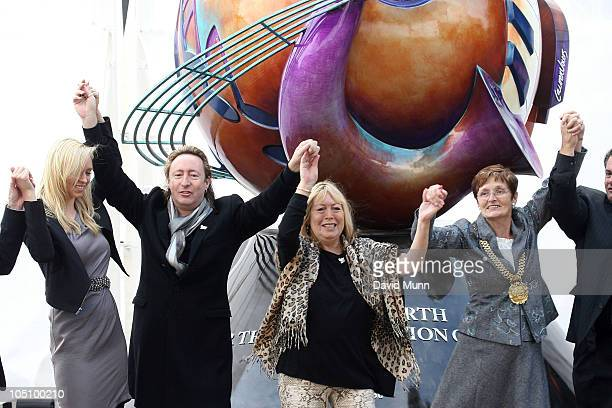Lauren Voiers Julian Lennon Cynthia Lennon and Lord Mayor of Liverpool Hazel Williams attend the unveiling of the John Lennon monument 'Peace...