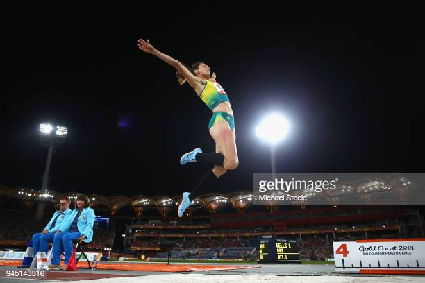 Lauren Wells of Australia competes in the Women's Long Jump final during athletics on day eight of the Gold Coast 2018 Commonwealth Games at Carrara...