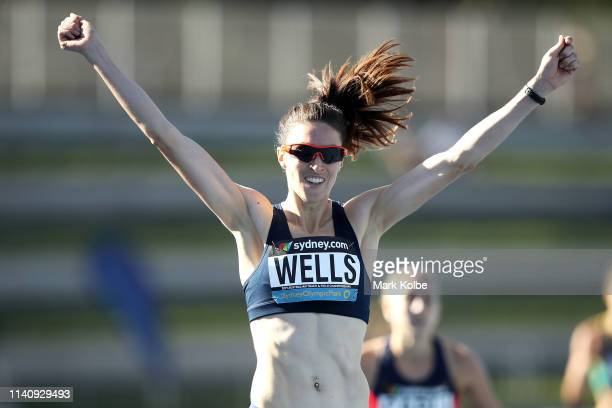 Lauren Wells of the ACT celebrates winning the Women 400 Metres Hurdles Open final during the Australian Track and Field Championships at Sydney...