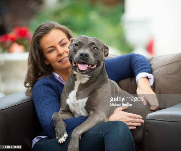 Lauren White and Stitch the dog at Giveback Day at TAP The Artists Projecton May 10 2019 in Los Angeles California
