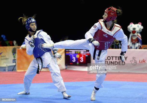 Lauren Williams of Great Britain kicks Rabia Guelec of Germany during there 67kg fight during the 2017 WTF World Taekwondo GrandPrix Series at Copper...