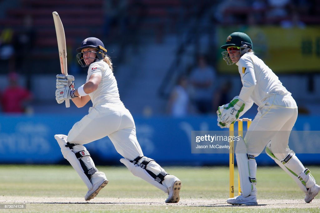 Lauren Winfield of England bats during day four of the Women's Test match between Australia and England at North Sydney Oval on November 12, 2017 in Sydney, Australia.