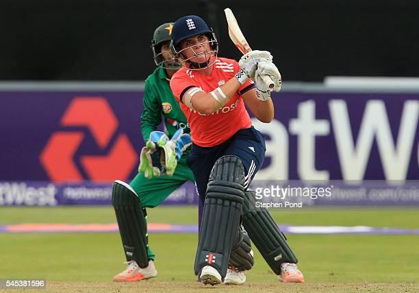 Lauren Winfield of England hits out during the Natwest Women's International T20 match between England Women and Pakistan Women at the Essex County...
