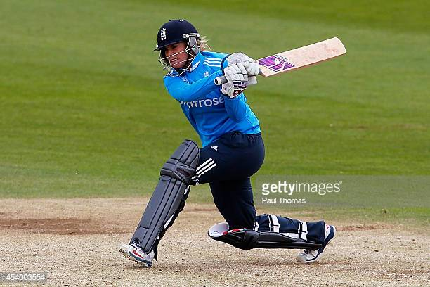Lauren Winfield of England plays a shot during the 2nd Royal London ODI between England and India at North Marine Road on August 23 2014 in...