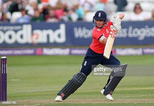 Lauren Winfield of England plays a shot during the 3rd Natwest International T20 played between England Women and Pakistan Women at The Essex County...