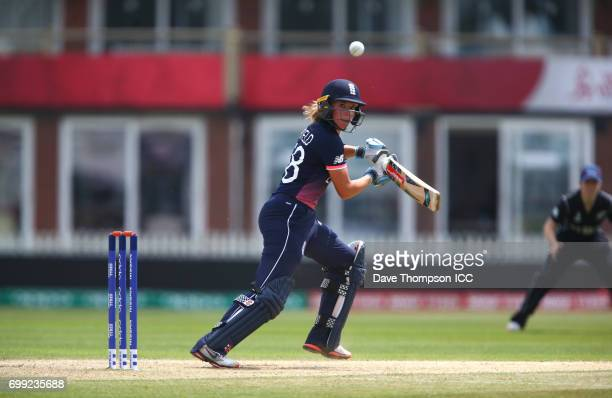 Lauren Winfield of England plays a shot during the ICC Women's World Cup warm up match between England and New Zealand at The County Ground on June...