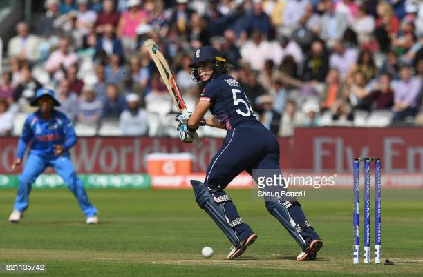Lauren Winfield of England plays a shot during the ICC Women's World Cup 2017 Final between England and India at Lord's Cricket Ground on July 23...