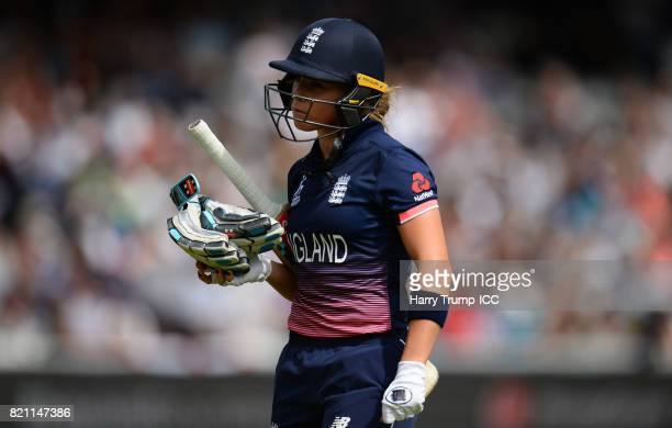 Lauren Winfield of England walks off after being dismissed during the ICC Women's World Cup 2017 Final between England and India at Lord's Cricket...
