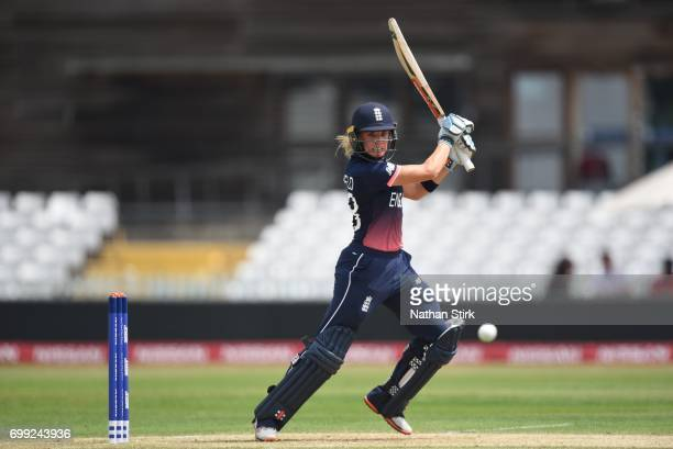 Lauren Winfield of England Women's drives the ball during the ICC women's world cup warm up match between England Women's and New Zealand on June 21...