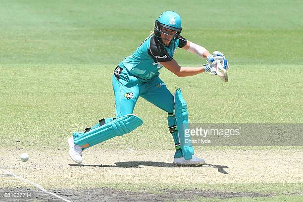 Lauren Winfield of the Heat bats during the Women's Big Bash League match between the Brisbane Heat and the Melbourne Renegades at Allan Border Oval...