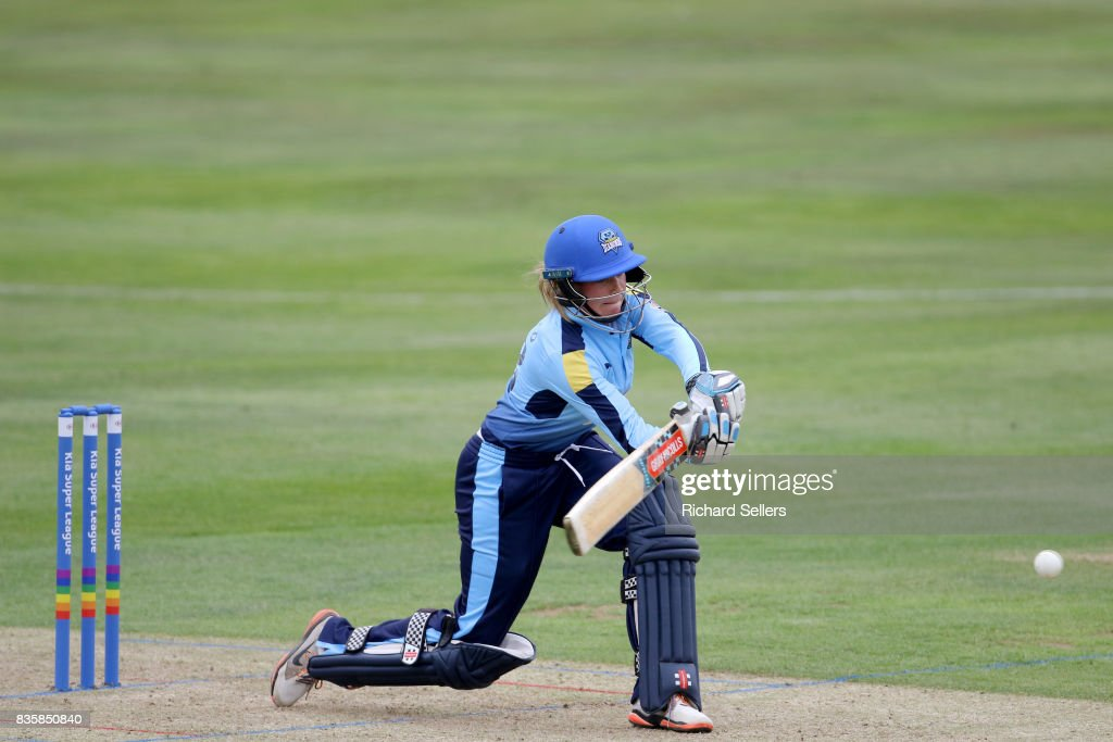 Lauren Winfield of Yorkshire Diamonds batting during the Kia Super League between Yorkshire Diamonds v Western Storm at York on August 20, 2017 in York, England.