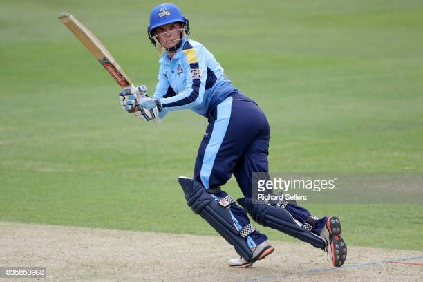Lauren Winfield of Yorkshire Diamonds batting during the Kia Super League between Yorkshire Diamonds v Western Storm at York on August 20 2017 in...