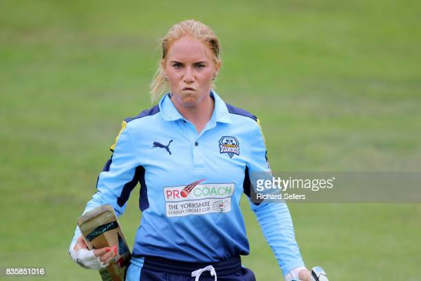 Lauren Winfield of Yorkshire Diamonds out after scoring 58 during the Kia Super League between Yorkshire Diamonds v Western Storm at York on August...