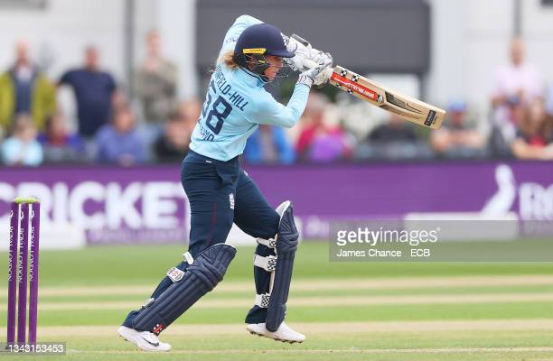 Lauren Winfield-Hill of England bats during the 5th One Day International match between England and New Zealand at The Spitfire Ground on September...