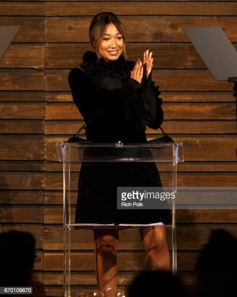 Lauren Wooden Johnson speaks on stage at the Communities In School LA Gala on April 18 2017 in Los Angeles California