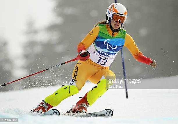 Lauren Woolstencroft of Canada competes in the Women's Standing Slalom during Day 4 of the 2010 Vancouver Winter Paralympics at Whistler Creekside on...