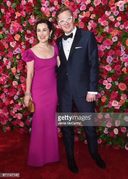 Lauren Worsham and Kyle Jarrow attend the 72nd Annual Tony Awards at Radio City Music Hall on June 10 2018 in New York City