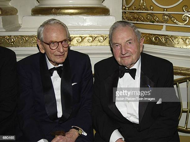 Laurence and David Rockefeller attend the New York Landmarks Conservancy Gala November 5 2001 in New York City