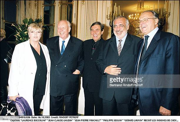 Laurence Boccolini 'Jean Claude Gaudin' 'Jean Pierre Foucault' 'Philippe Seguin' 'Gerard Louvin' receives the Knight badge of the Legion of Honor at...