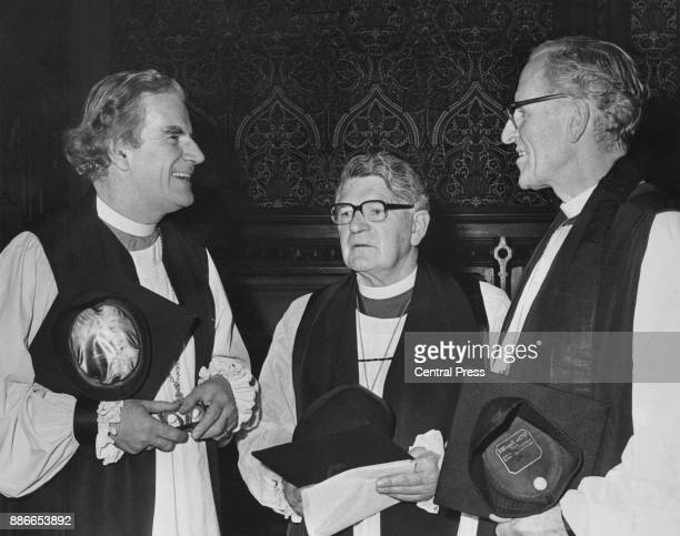 Laurence Brown the new Bishop of Birmingham with his two sponsors Mervyn Stockwood the Bishop of Southwark and Cuthbert Bardsley the Bishop of...
