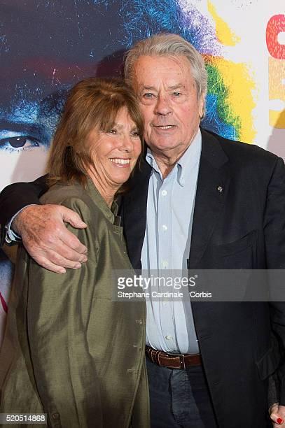 Laurence Charlebois and Alain Delon at Bobino on April 11 2016 in Paris France