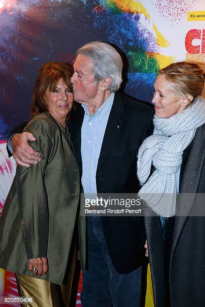 Laurence Charlebois wife of Robert actor Alain Delon and Guest attend the Robert Charlebois 50 ans 50 chansons Concert at Bobino on April 11 2016 in...