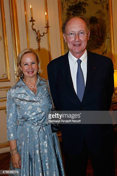 Laurence de Gaulle and Yves de Gaulle attend the cocktail party for the departure of the ambassador of Belgium in France on June 25 2015 in Paris...