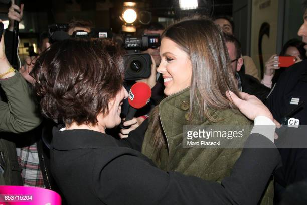 Laurence Druart welcomes her daughter Miss Universe Iris Mittenaere as she arrives at Aeroport Roissy - Charles de Gaulle on March 16, 2017 in Paris,...