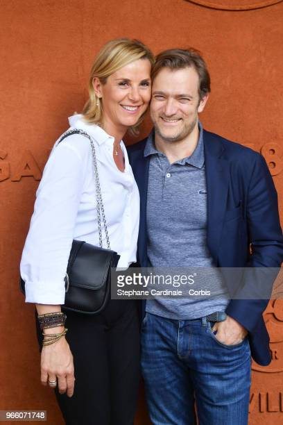 Laurence Ferrari and Renaud Capucon attend the 2018 French Open Day Seven at Roland Garros on June 2 2018 in Paris France