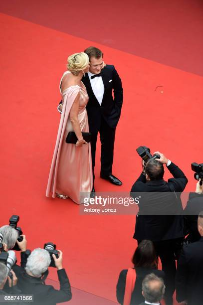 Laurence Ferrari and Renaud Capucon attend the 'Amant Double ' screening during the 70th annual Cannes Film Festival at Palais des Festivals on May...