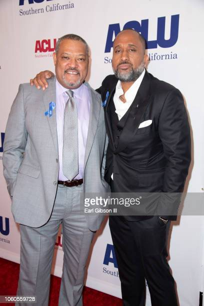 Laurence Fishburn and Kenya Barris attend ACLU's Annual Bill Of Rights Dinner at the Beverly Wilshire Four Seasons Hotel on November 11 2018 in...