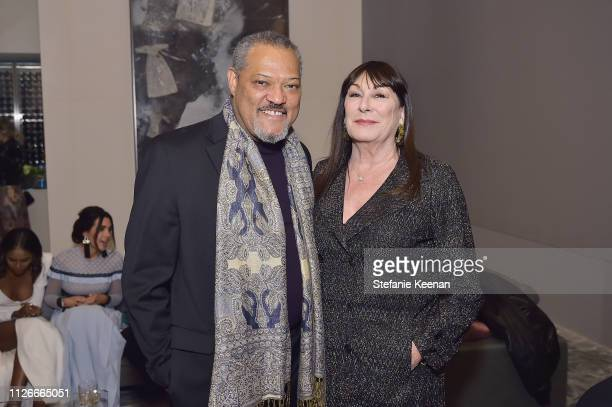 Laurence Fishburne and Anjelica Huston attend the UCLA IoES honors Barbra Streisand and Gisele Bundchen at the 2019 Hollywood for Science Gala on...