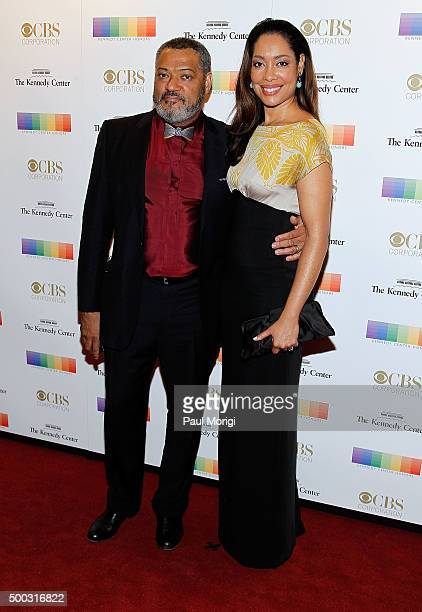Laurence Fishburne and Gina Torres attend the 38th Annual Kennedy Center Honors Gala at John F Kennedy Center for the Performing Arts on December 6...