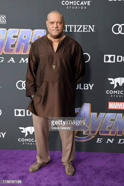 Laurence Fishburne attends the world premiere of Walt Disney Studios Motion Pictures 'Avengers Endgame' at the Los Angeles Convention Center on April...