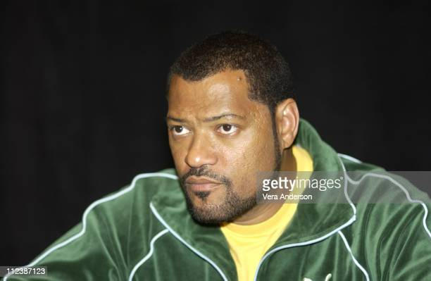 Laurence Fishburne during The Matrix Reloaded Press Conference with Keanu Reeves Jada Pinkett Smith CarrieAnne Moss Laurence Fishburne Monica...