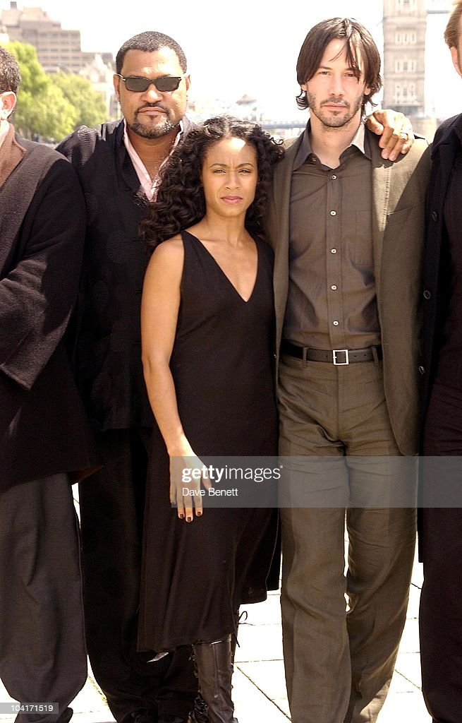 Laurence Fishburne, Jada Pinkett, Smith, Keanu Reeves, Hugo Weaving, 'The Matrix Reloaded' Movie Cast Photocall At Billinsgate Market, London.