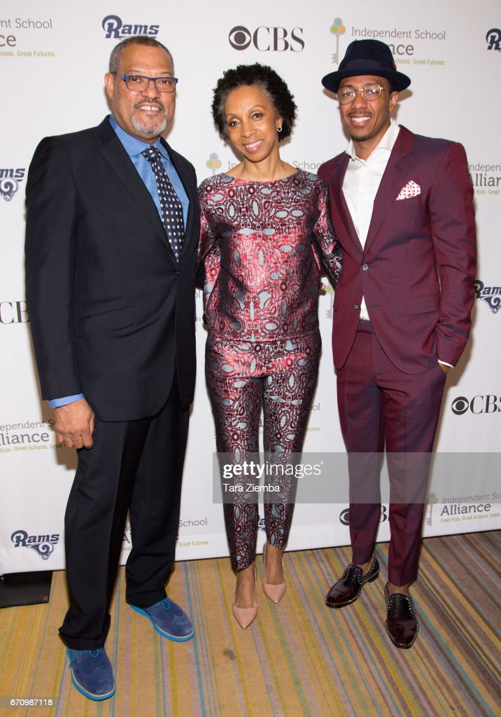 Laurence Fishburne, Nina Shaw and Nick Cannon attend the Independent School Alliance Impact Awards at the Beverly Wilshire Four Seasons Hotel on April 20, 2017 in Beverly Hills, California.