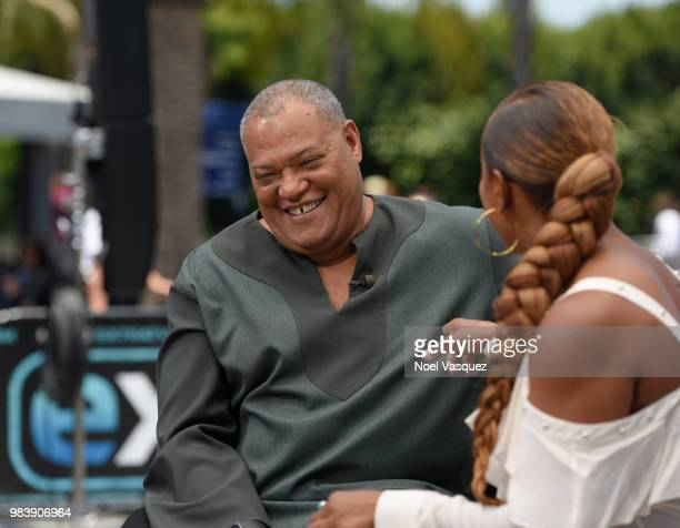 Laurence Fishburne visits 'Extra' at Universal Studios Hollywood on June 25 2018 in Universal City California