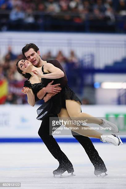 Laurence Fournier Beaudry and Nikolaj Sorensen of Denmark compete in the Ice Dance Free Dance during day 4 of the European Figure Skating...