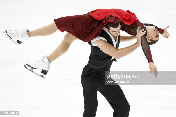 Laurence Fournier Beaudry and Nikolaj Sorensen of Denmark compete in the Pairs' free dance event on October 8, 2017 at the ISU figure skating...