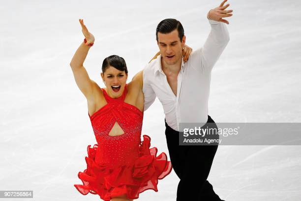 Laurence Fournier Beaudry and Nikolaj Sorensen of Denmark perform in the Ice Dance category of Short Dance segment skating during the ISU European...